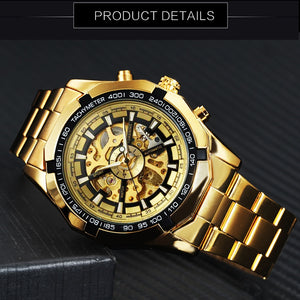 New Golden Watch. Top Luxury Brand. Men's Sports Automatic.