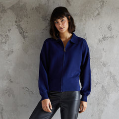 Ava navy collared cardigan with zip
