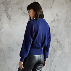 Ava navy collared cardigan with zip and blouson back details