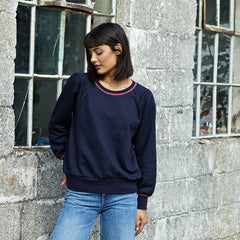 Beau navy cotton sweatshirt with neon pink stitch detail at the collar and cuffs