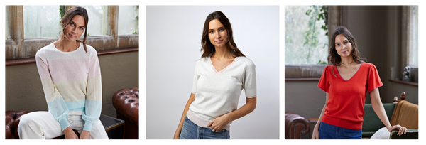 new season tops and tees   pastel block stripes   fluted sleeve tee   v neck