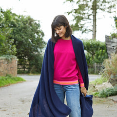 Lola oversized cashmere wrap navy worn with hot pink philly cashmere crew