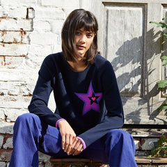 Sia cashmere jumper navy with neon purple star motif