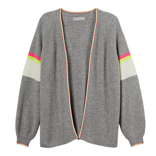 chloe grey cardigan with neon yellow & pink trim