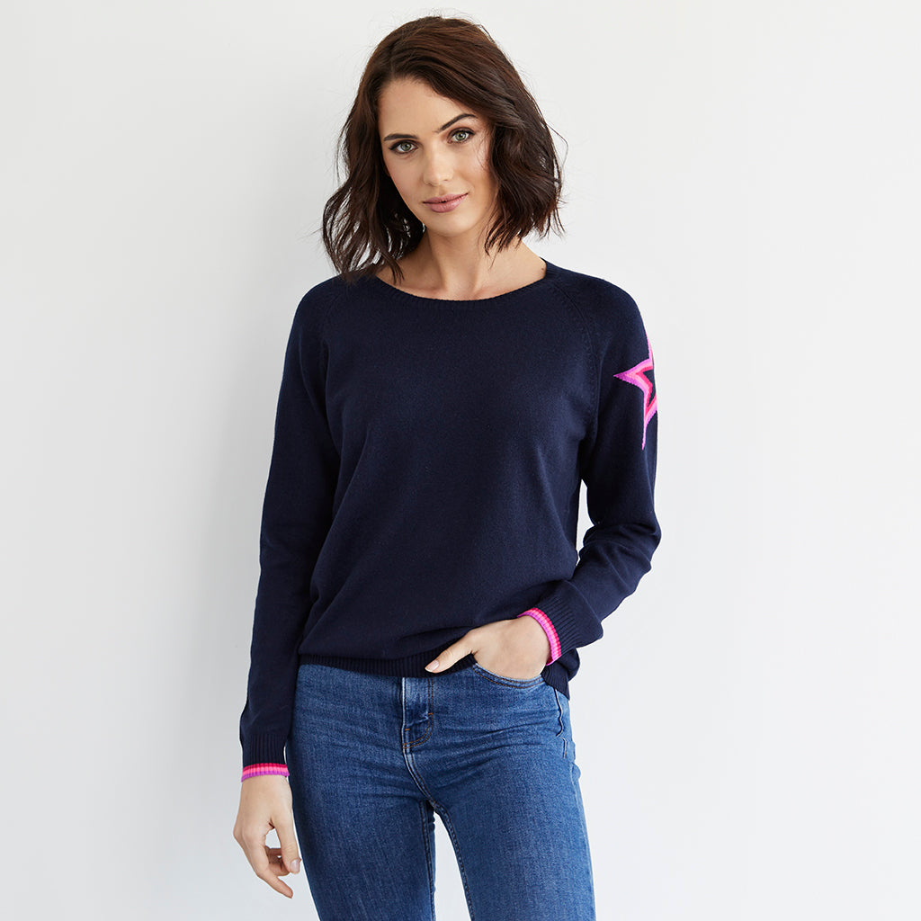 connie cashmere jumper navy with neon rainbow star
