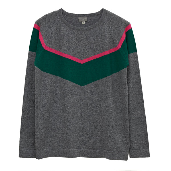 alice cashmere chevron jumper grey and green