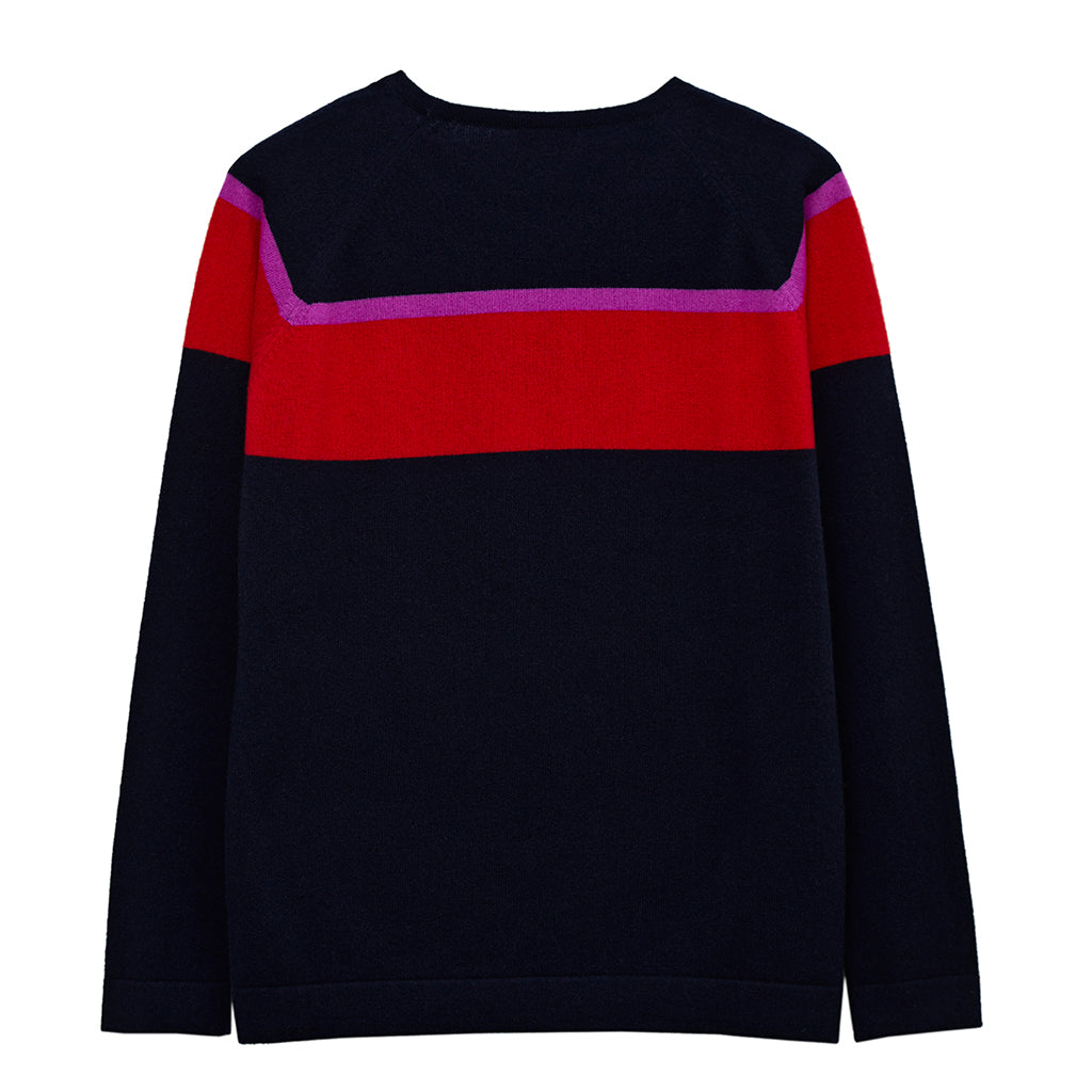 alice cashmere chevron jumper navy and red
