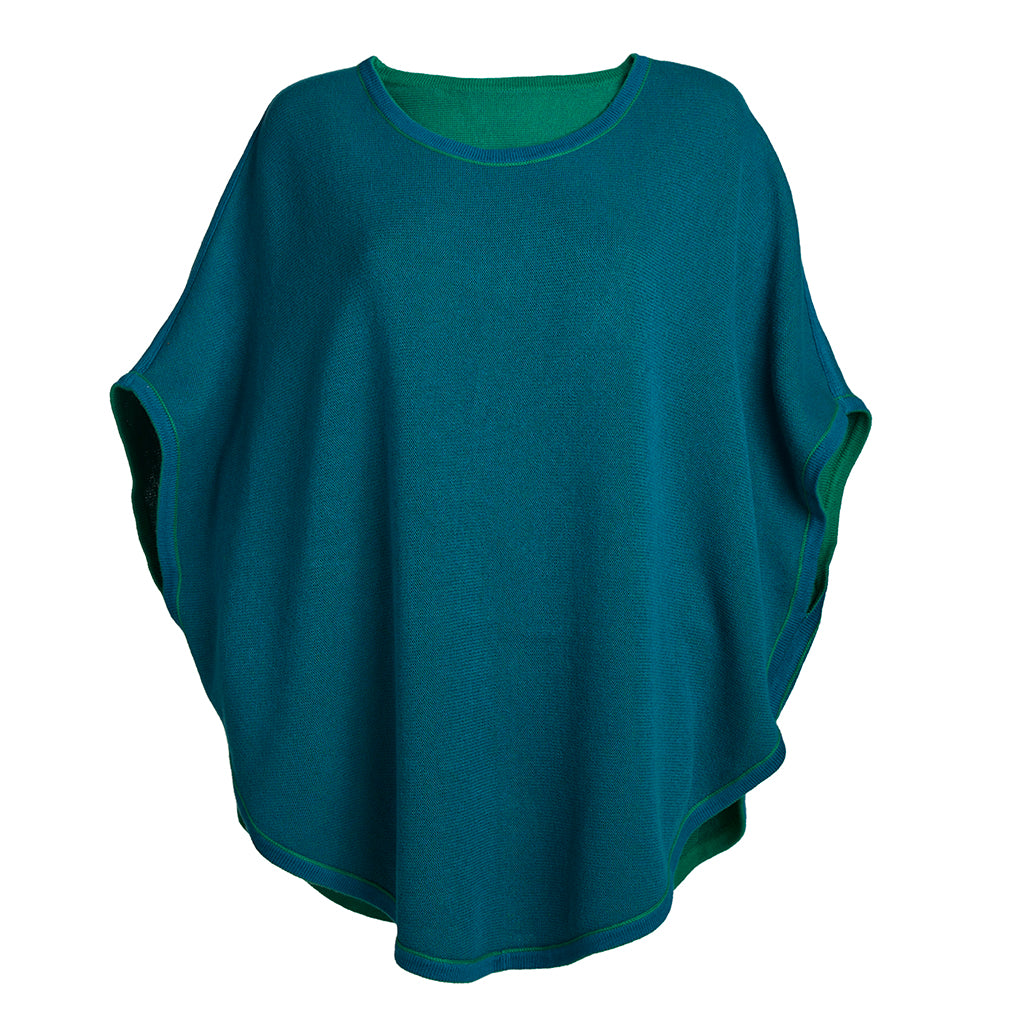 flora reversible poncho green and blue