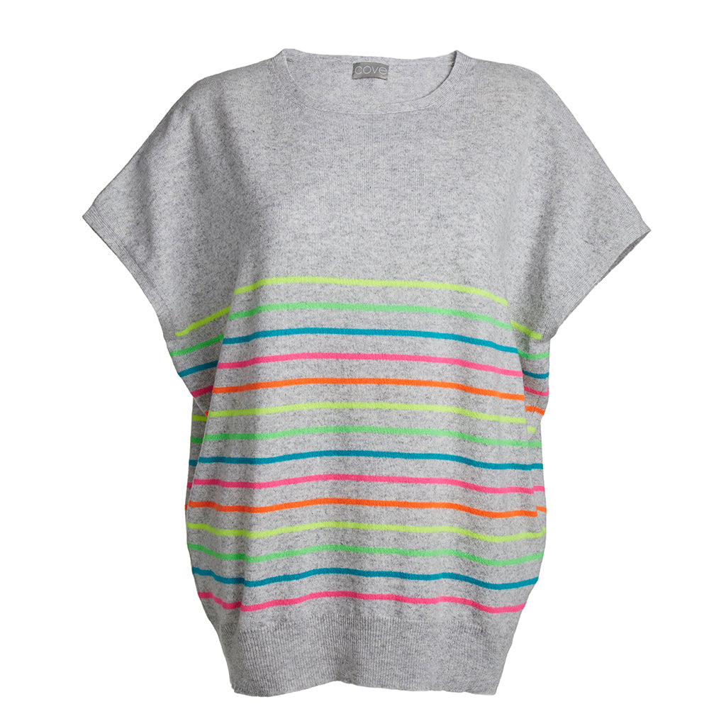 elsie short sleeved cashmere jumper multi colour stripe