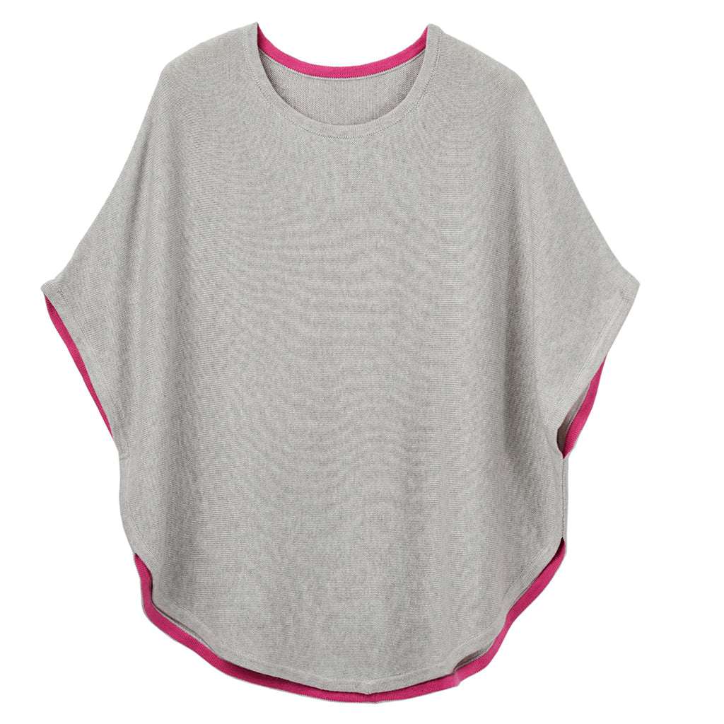 fliss reversible poncho grey and pink