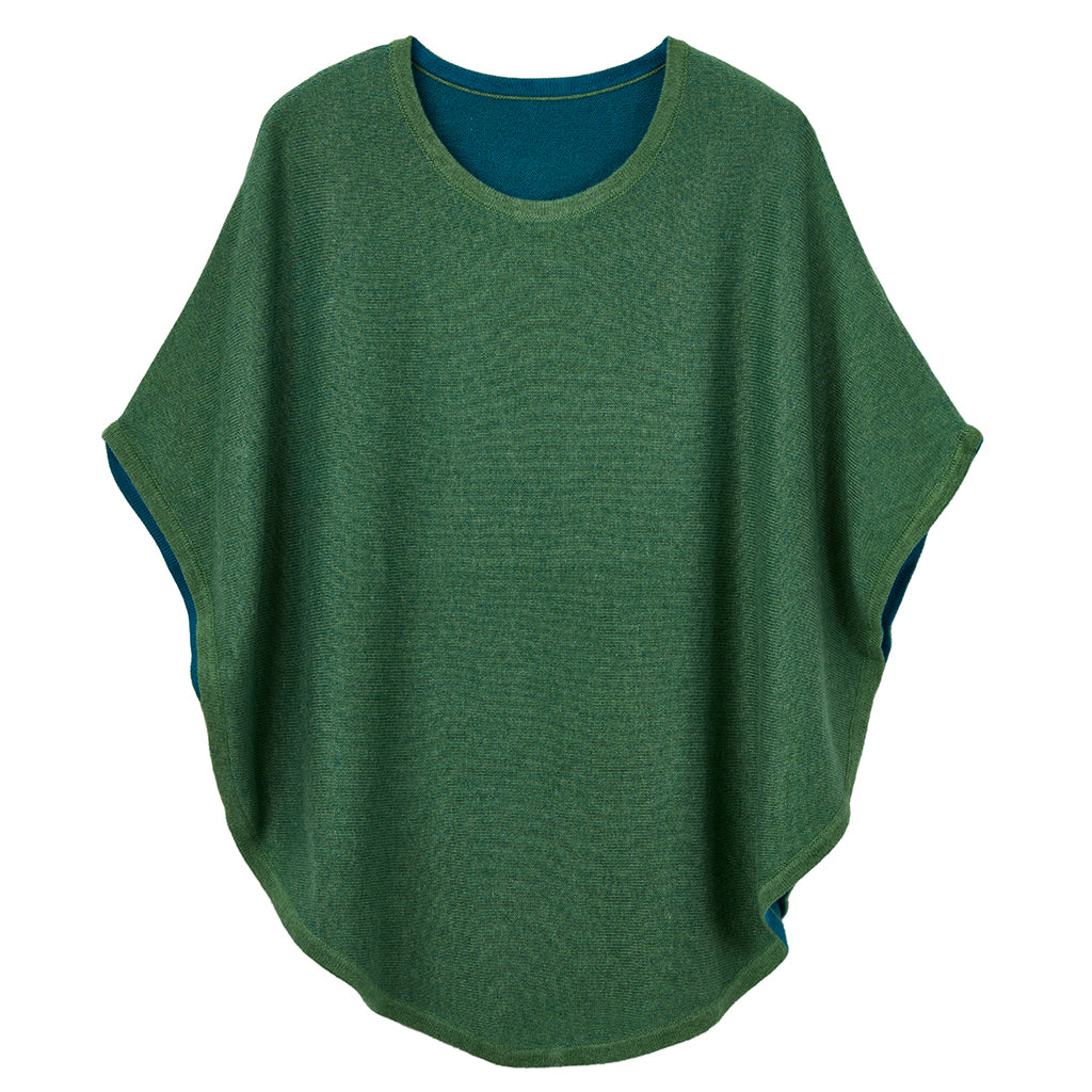 flora reversible poncho woodland green and dark peacock
