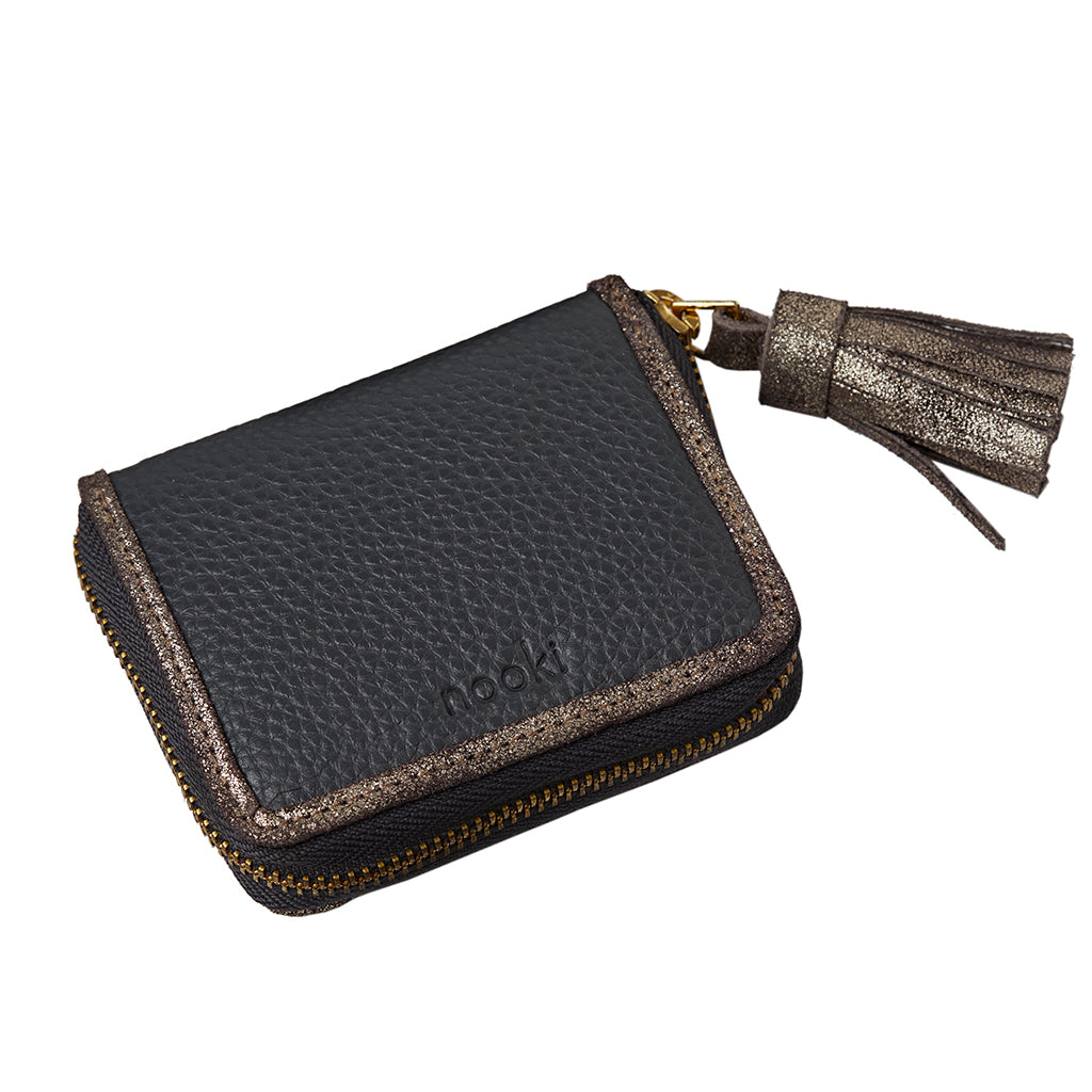 suzanna charcoal coin purse with tassel
