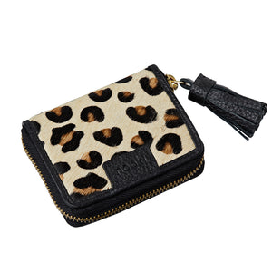 suzanna leopard print coin purse with tassel
