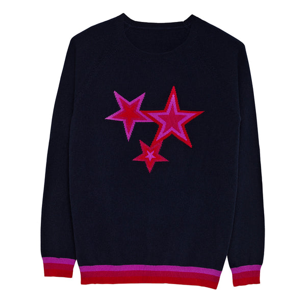 berry cashmere star jumper navy and pink