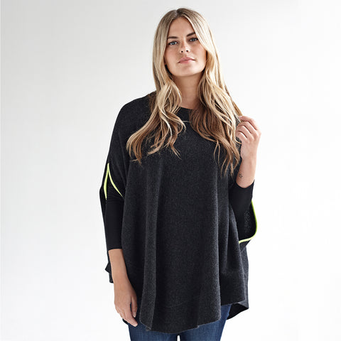 florence charcoal & yellow swing poncho