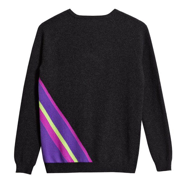 ziggy cashmere jumper charcoal diagonal neon stripe