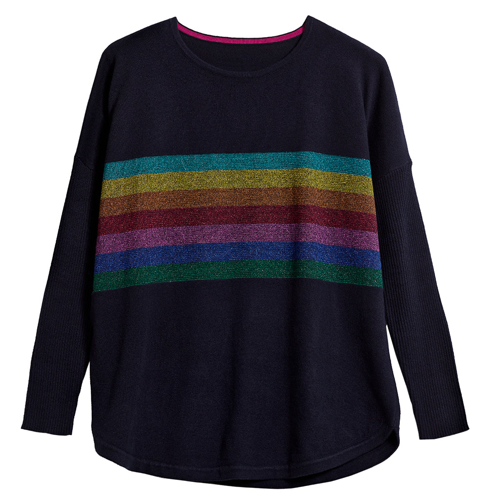 harriet navy jumper with striped lurex