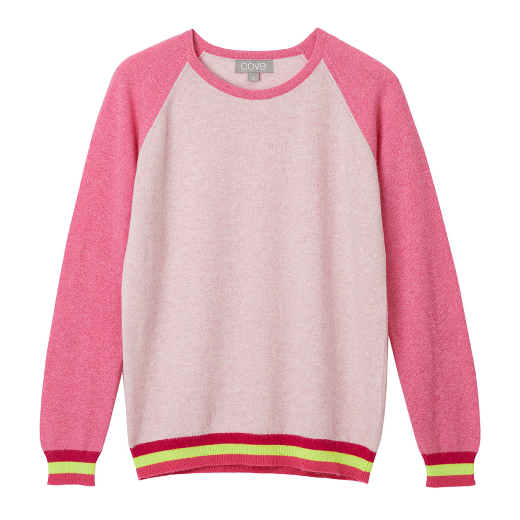 carmen cashmere jumper pink with neon stripes
