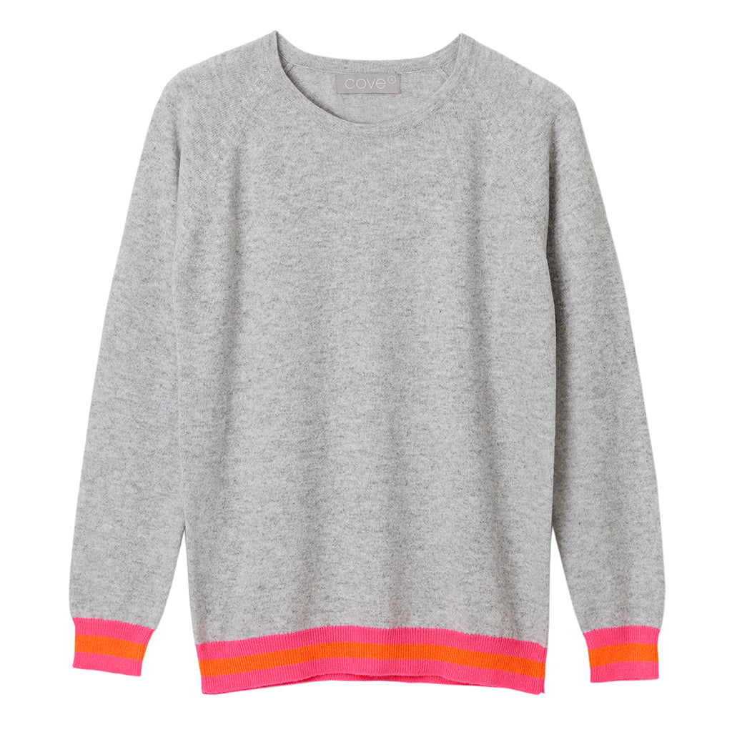 philly cashmere jumper grey with neon trim