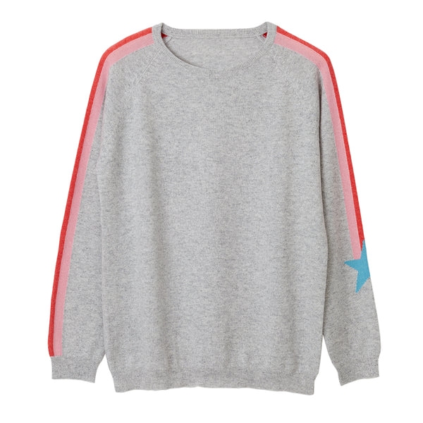emily cashmere jumper grey with shooting star on arm