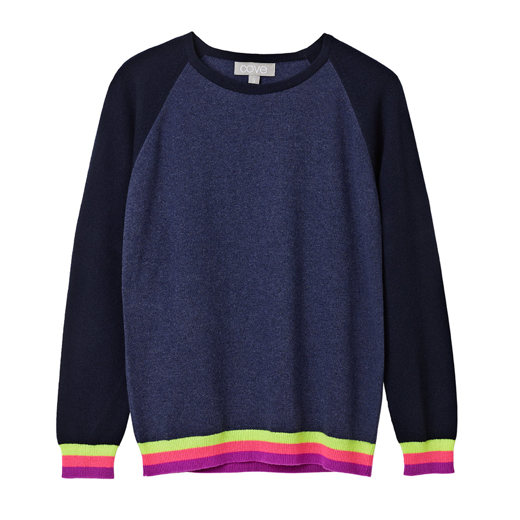carmen cashmere jumper blue with neon stripes