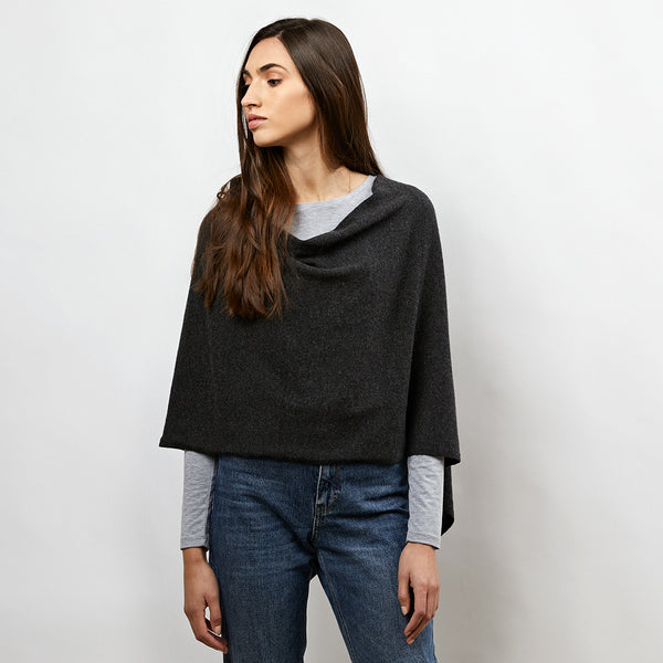 lucy charcoal cashmere poncho