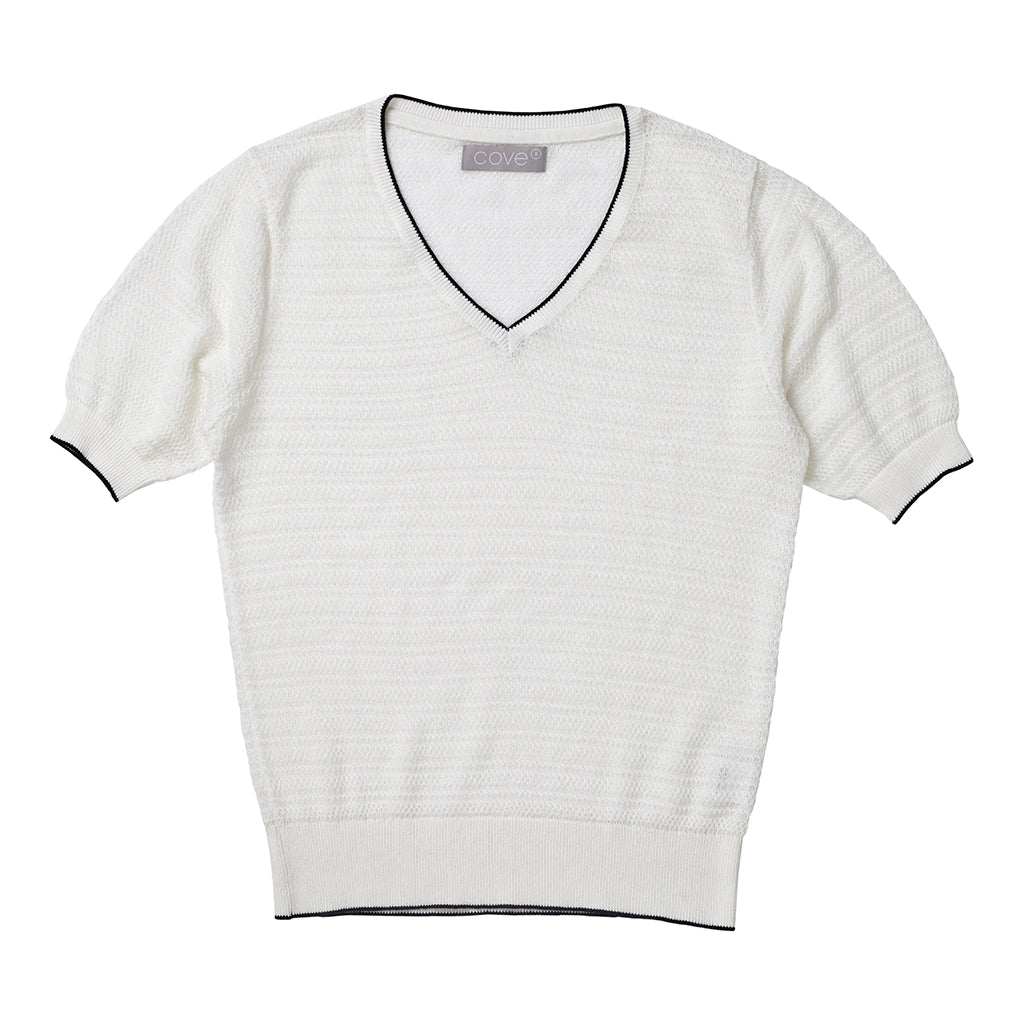 rose cotton cashmere semi sheer tee chalk and navy