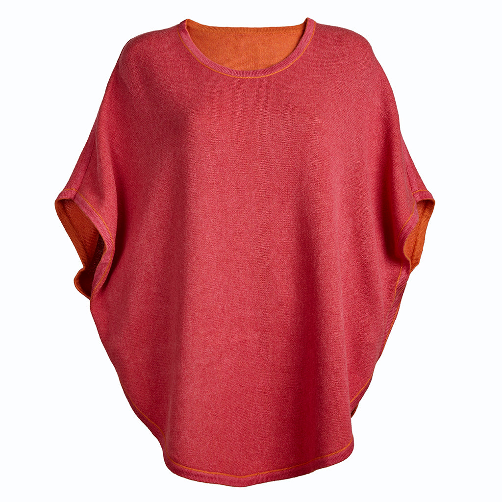 flora reversible poncho clementine and rose