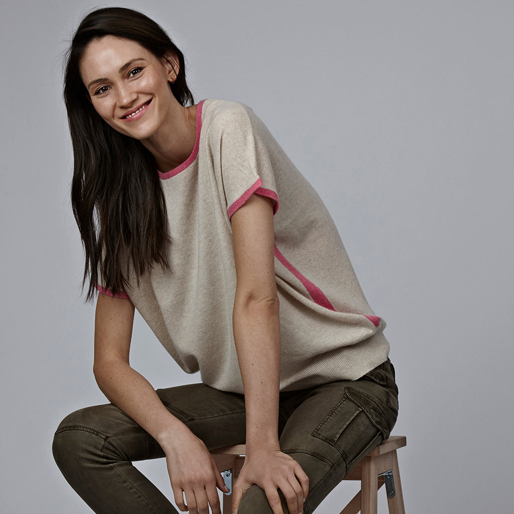 eva cashmere short sleeved jumper oatmeal and bubblegum