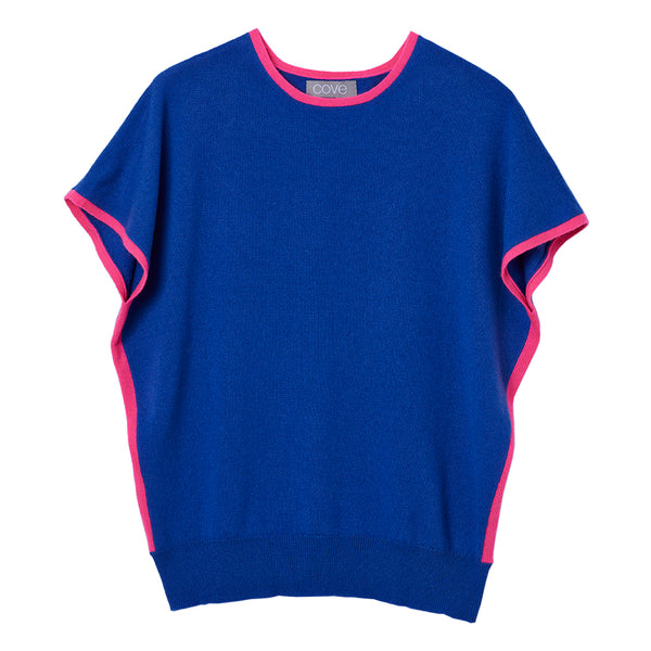 eva cashmere short sleeved jumper blue and pink