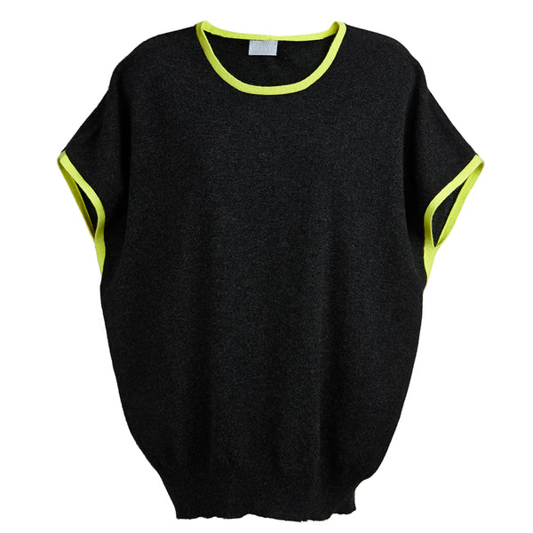 eva cashmere short sleeved jumper charcoal and yellow