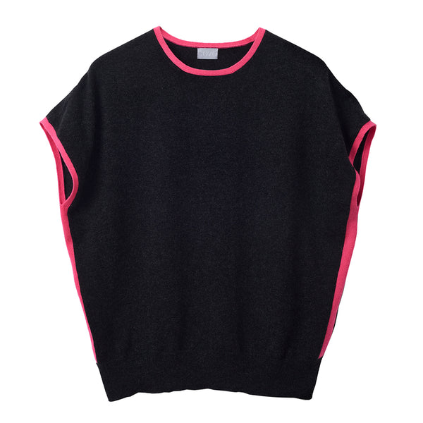 eva cashmere short sleeved jumper charcoal and pink