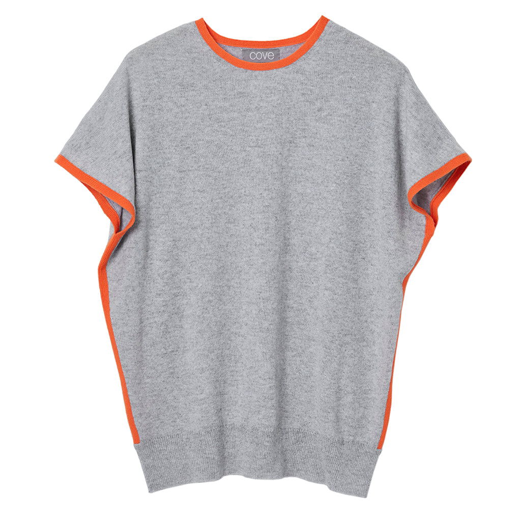 eva cashmere short sleeved jumper grey and orange