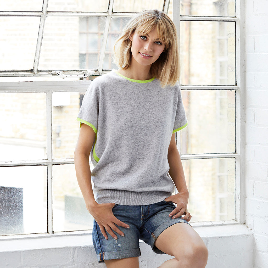 eva cashmere short sleeved jumper grey and yellow