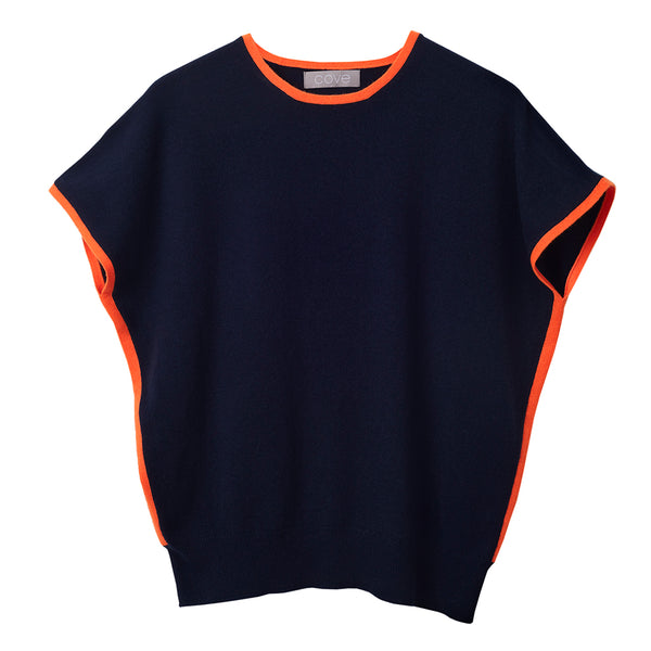 eva cashmere short sleeved jumper navy and orange