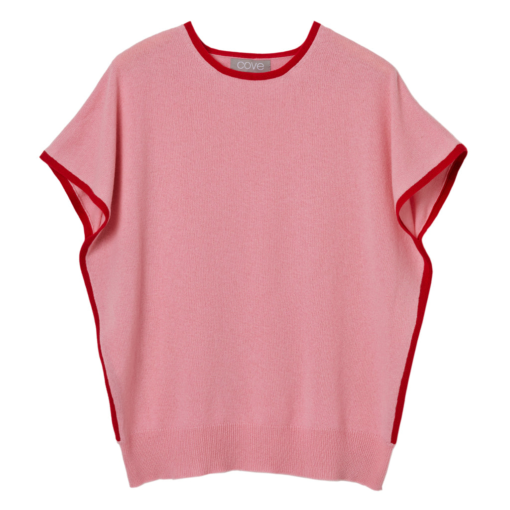 eva cashmere short sleeved jumper pink and red
