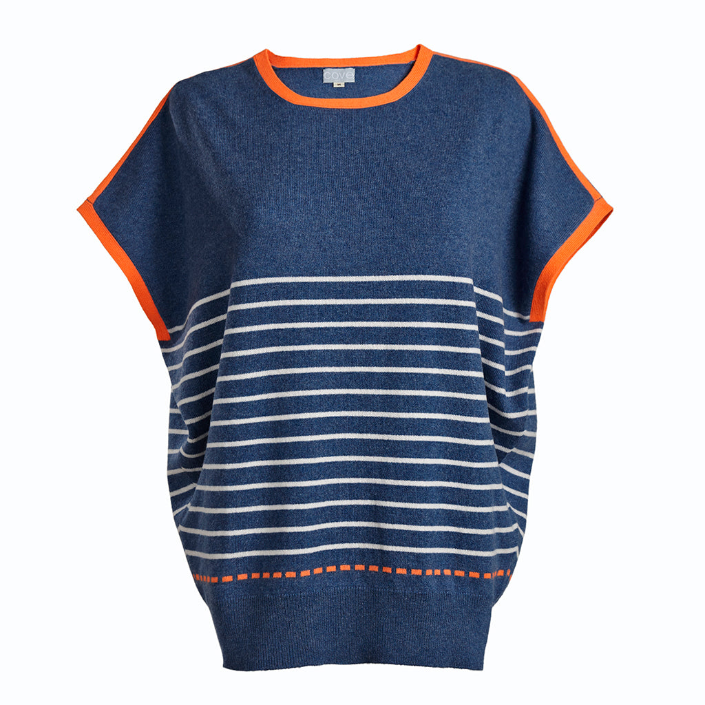 esther cashmere jumper blue and orange with white stripe