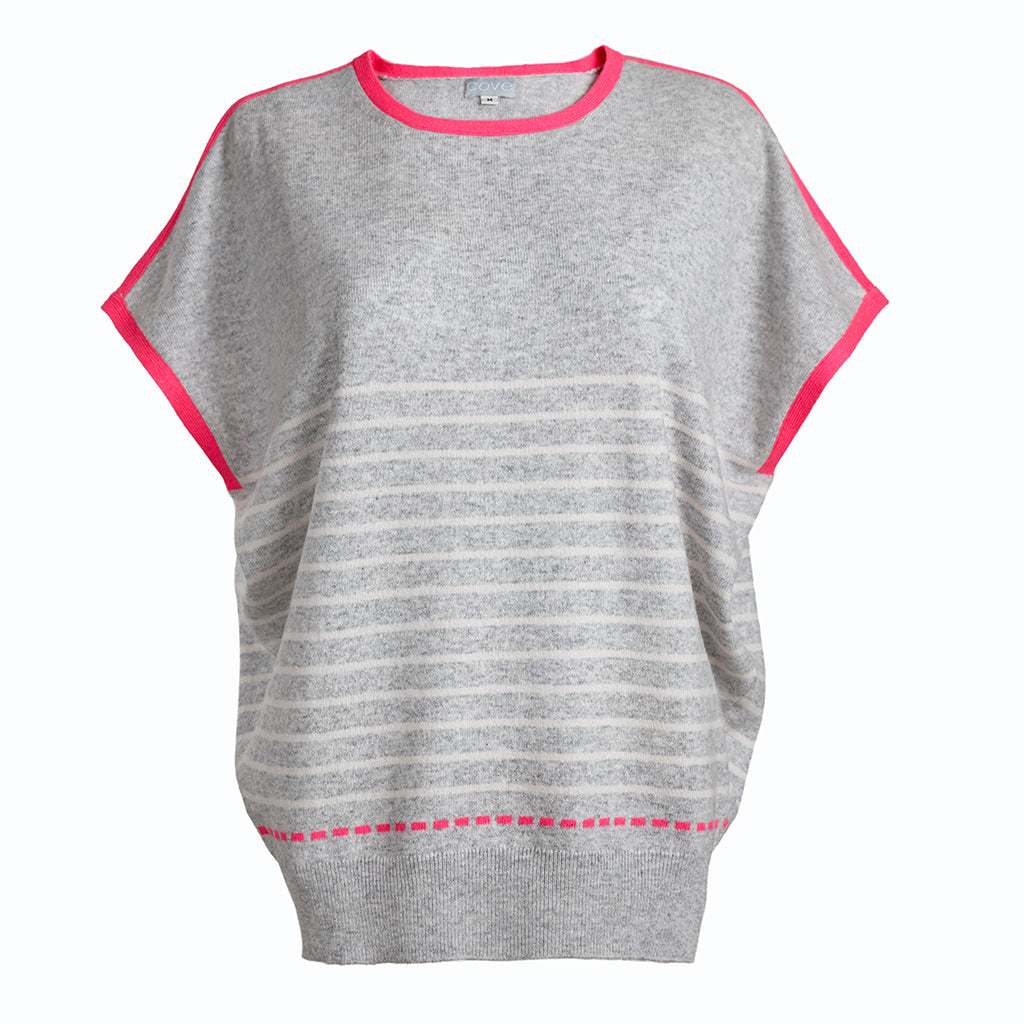 esther cashmere jumper grey and pink with white stripe