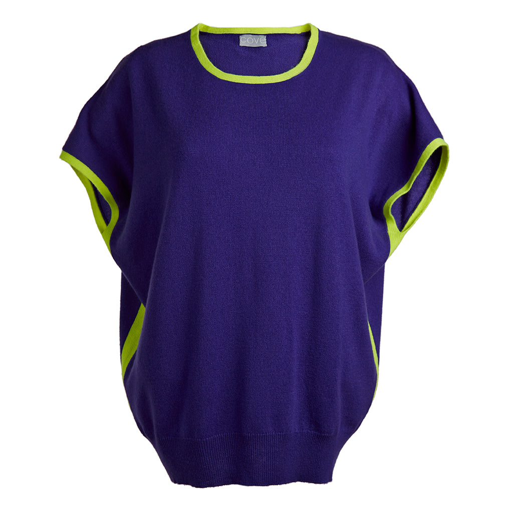 eva cashmere short sleeved jumper blue and yellow