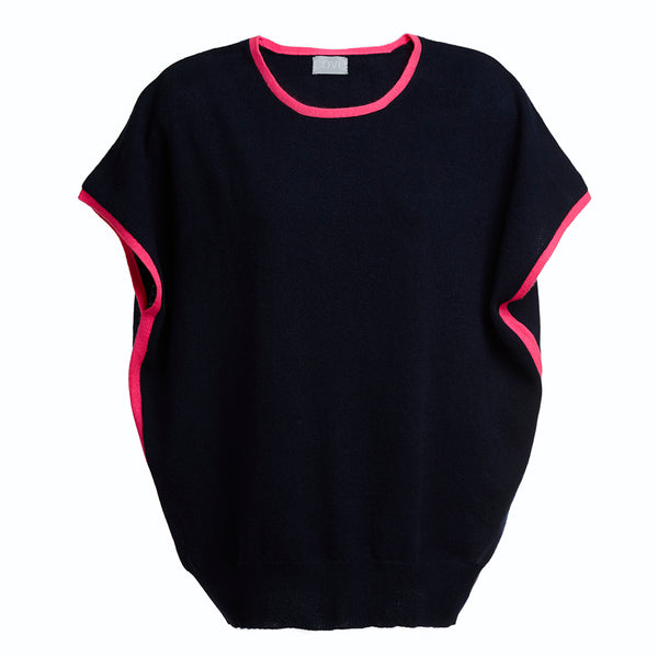 eva cashmere short sleeved jumper navy and pink