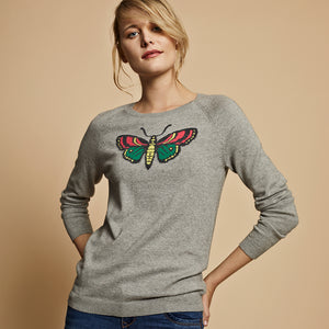 fleur cotton cashmere grey jumper with butterfly