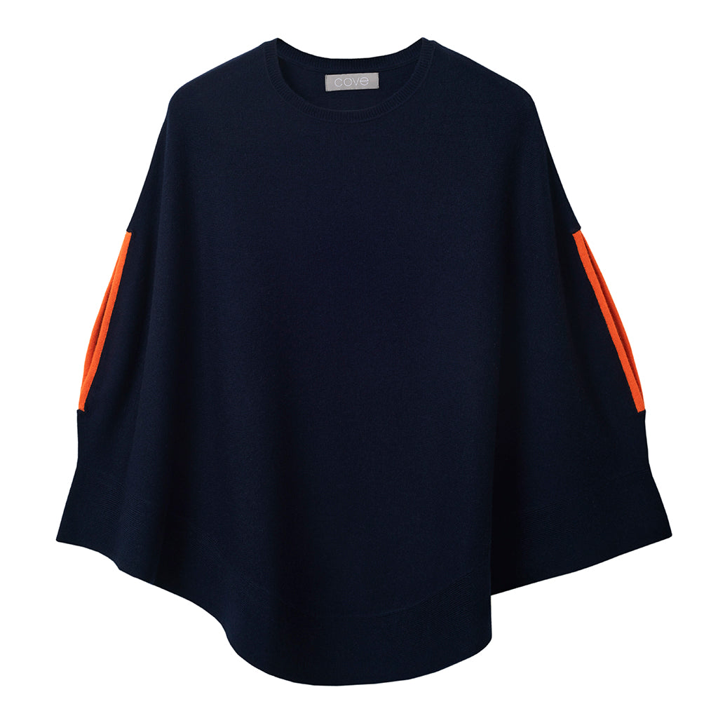 florence cashmere swing poncho navy and orange