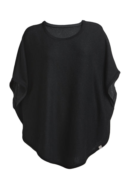 flora reversible poncho black and charcoal