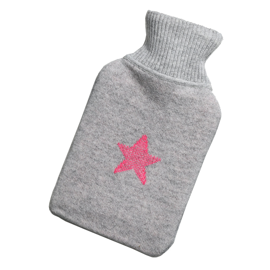 cashmere hot water bottle cover grey with pink star