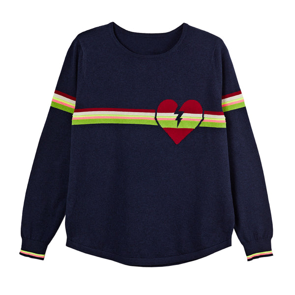 hattie navy heart jumper