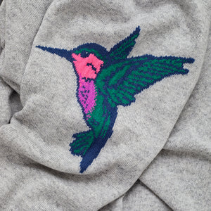 heidi cashmere jumper grey with neon hummingbird