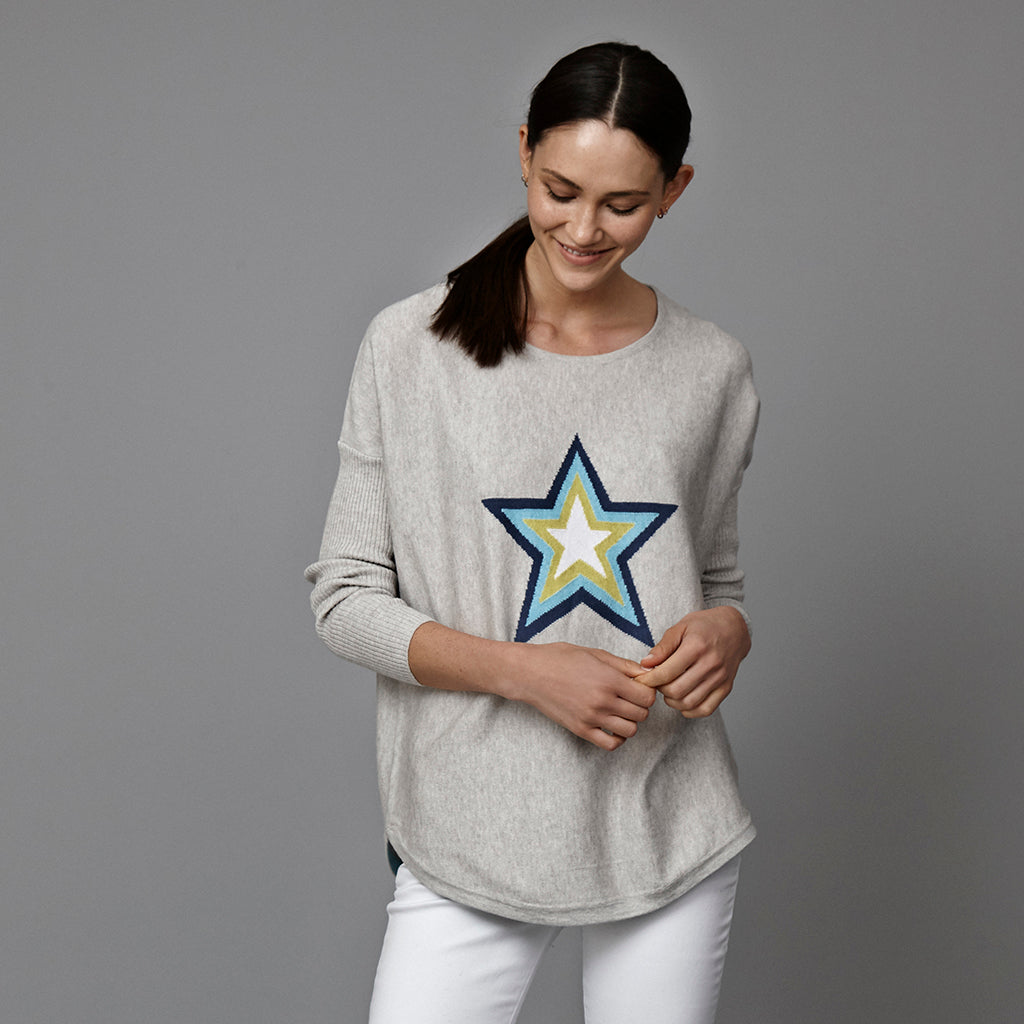 holly grey star jumper