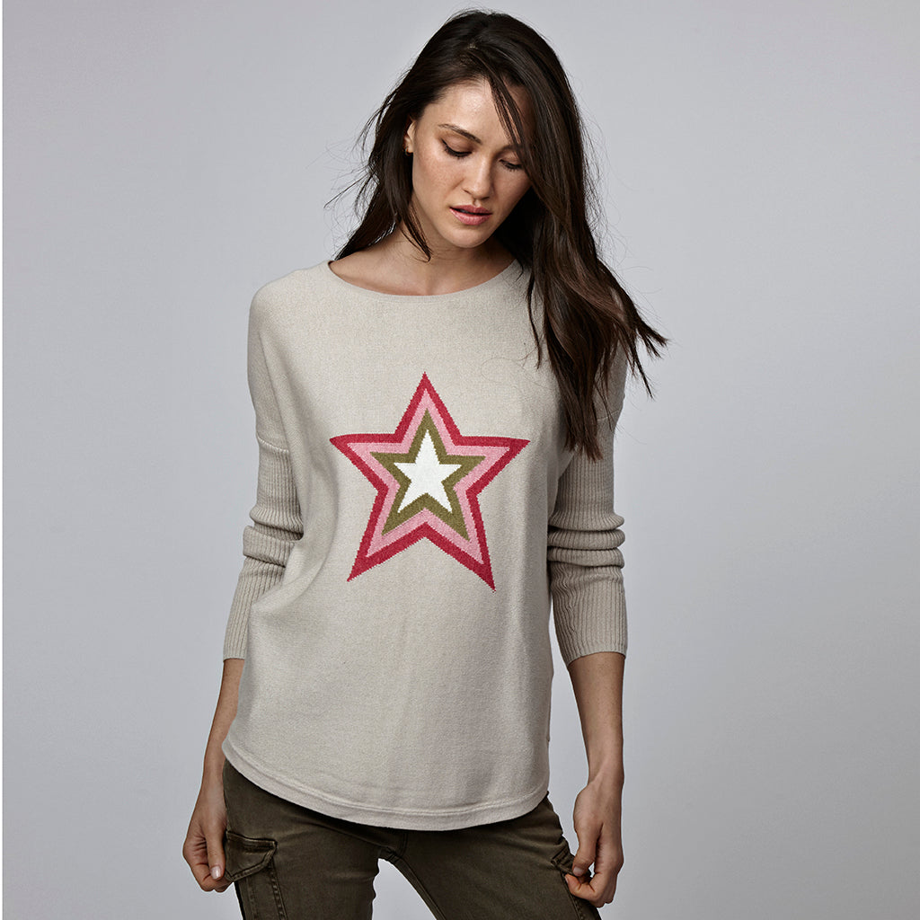 holly beige star jumper