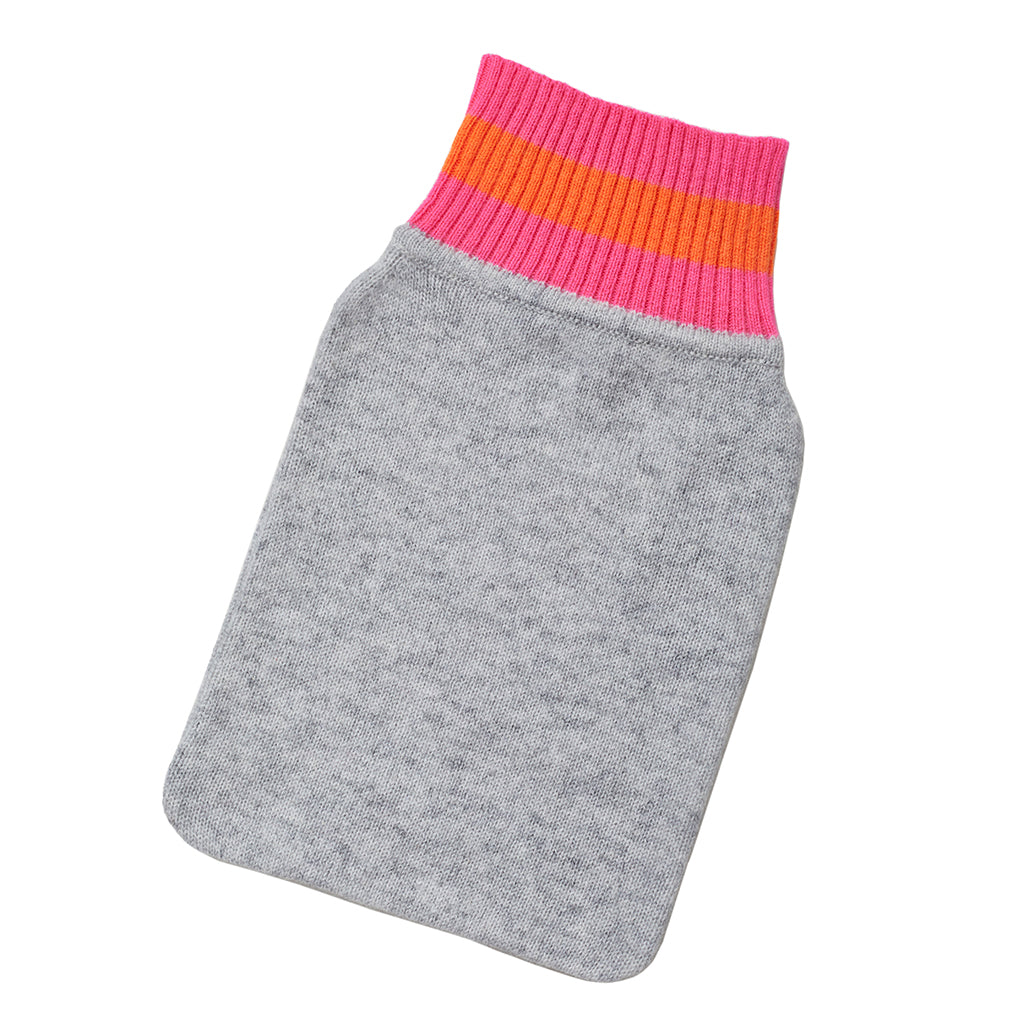 hot water bottle cover grey with neon trim
