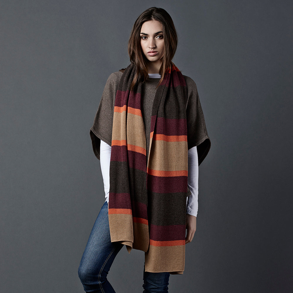 stripe oversized scarf brown orange